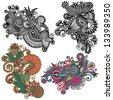 original hand draw line art ornate flower design. Ukrainian traditional style, raster version - stock vector