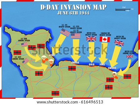 original hand drawn map d day invasion of normandy france beach code