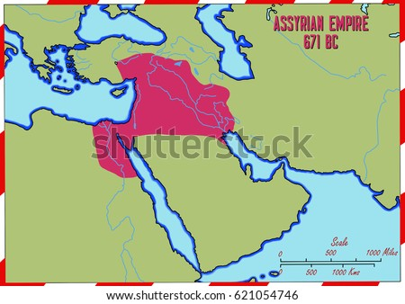 Original Hand Drawn Map Assyrian Empire Stock Illustration - Map of egypt and syria