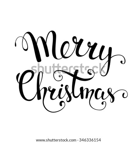 Original hand lettering Merry Cristmas. Illustration for Christmas posters, Christmas greeting cards, Christmas print and web projects. Raster version - stock photo