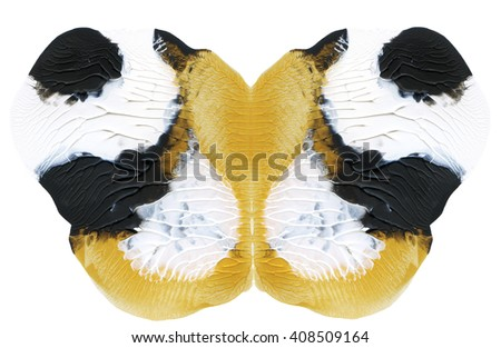 Original hand painted design element, acrylic,gold,black and white - stock photo