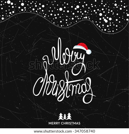 Original handwritten Xmas lettering illustration. Merry Christmas - quote over background. Christmas art design. Great design element for congratulation or greeting cards and banners or posters. - stock photo