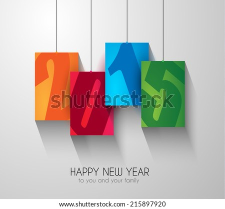 Original 2015 happy new year modern background with squared paths and blend shadows. - stock photo