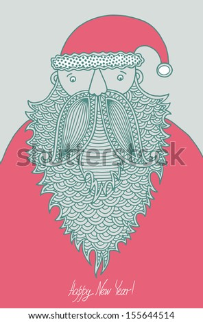 original hipster santa claus, modern graphic style, merry christmas! happy new year! Raster version - stock photo