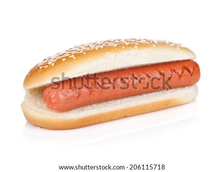 Original hot dog. Isolated on white background - stock photo