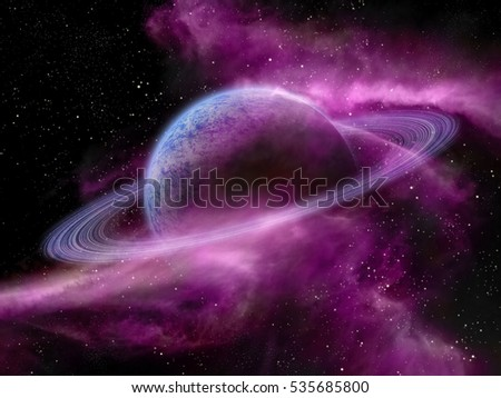 Original illustration of a fantasy space scene. Nebula and alien planets.