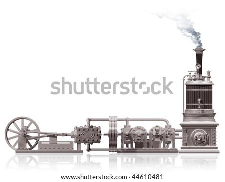 Original illustration of a steam plant motif - stock photo