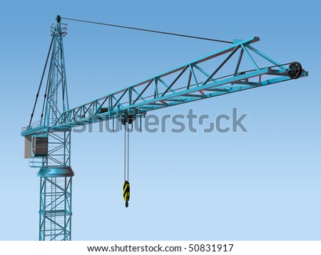 Original illustration of an imposing tower crane - stock photo