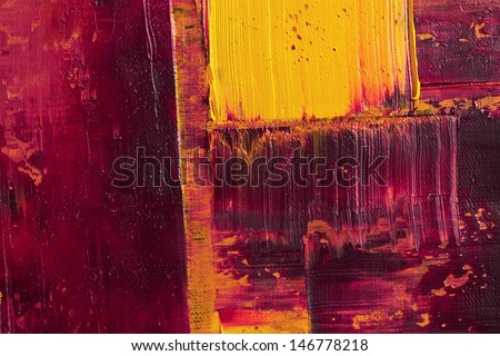 Original Impasto Oil Painting on canvas, closeup, hand painted - stock photo