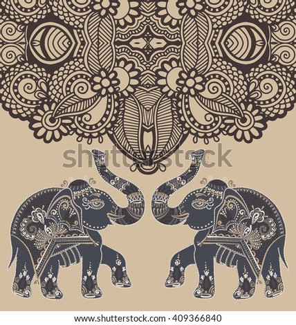 original indian pattern with two elephants for invitation, cover design, fabric pattern or page decoration, ethnic border on vintage flower background, raster version illustration - stock photo