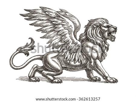 Winged lion tattoo - photo#31