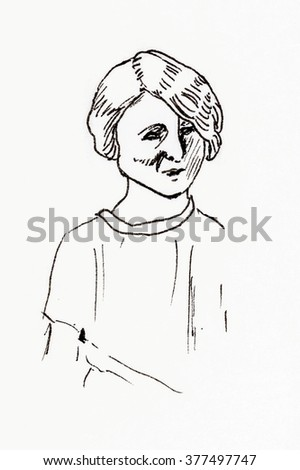 Original ink line drawing. Portrait of a 1920's girl. Hand drawn artwork.