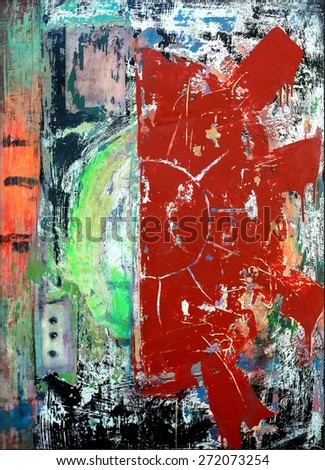 Original Mixed Media Abstract Red Sun Painting Grunge Graffiti Art Texture Background - stock photo