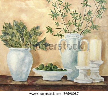 Original oil on canvas still life of pottery in soft colors - stock photo