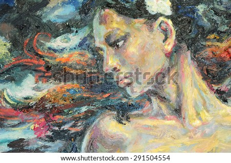 Original oil painting artwork on textured canvas - stock photo
