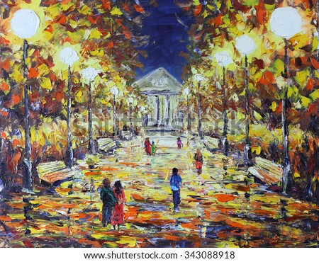 Original oil painting evening walk in the autumn park, people, white lights on canvas. Impasto artwork. Impressionism art