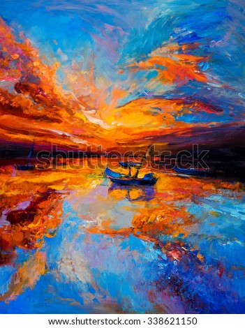 Original oil painting- fishing boats and sunset - Modern impressionism  - stock photo
