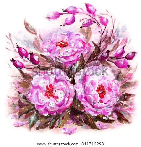 Original oil painting illustration of wild rose, rosehips flowers and fruits isolated on white - stock photo