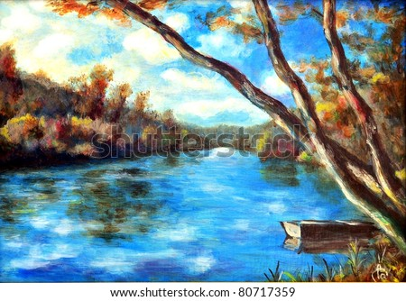 Original oil painting of a summer river - stock photo