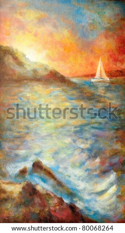 Original oil painting of a summer sunset over the sea - stock photo