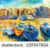 Original oil painting of beautiful sunset over the wharf full of boats on canvas.Modern Impressionism - stock photo