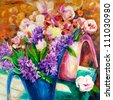 Original  oil painting of beautiful vase or bowl of fresh  flowers.  on canvas.Modern Impressionism - stock photo