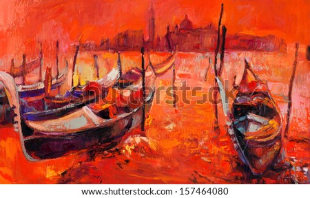 Original oil painting of beautiful Venice, Italy at sunset  on canvas.Modern Impressionism - stock photo
