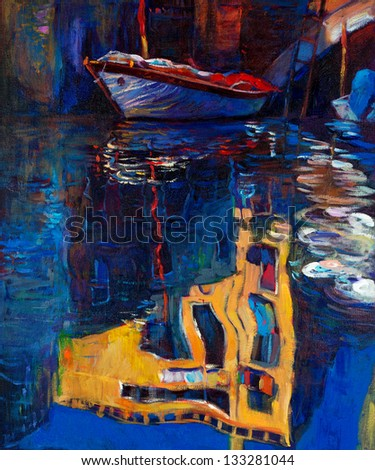 Original oil painting of beautiful Venice, Italy  on canvas.Boat and building reflection.Modern Impressionism - stock photo