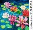 Original oil painting of beautiful water lily(Nymphaeaceae) on canvas.Modern Impressionism - stock photo