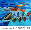 Original oil painting of boats and sea on canvas.Sunset over ocean.Modern Impressionism - stock photo