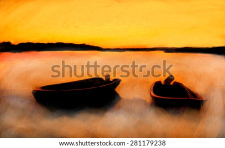 Original oil painting of boats in red sunset colors.Sunset over ocean.Modern Impressionism - stock photo