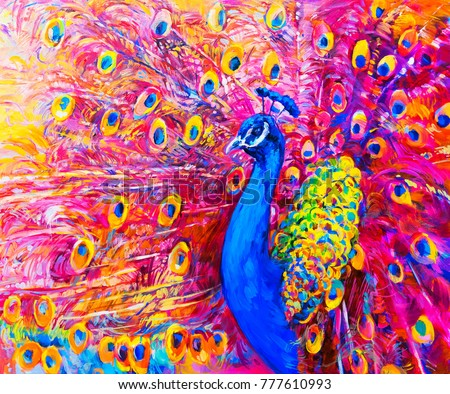 Original Oil Painting Of Colorful Peacock Modern Art
