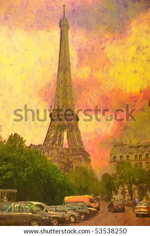 original oil painting of effiel tower paris - stock photo