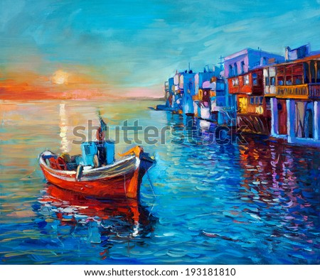 Original oil painting of fishing boat and sea on canvas. Sunset over ocean and coastal town.Modern Impressionism - stock photo