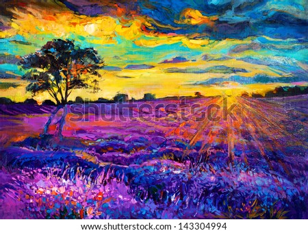 Original oil painting of lavender fields on canvas.Sunset landscape.Modern Impressionism - stock photo