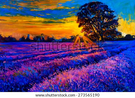 Original oil painting of lavender fields on canvas. Sunset over lavender field. Modern Impressionism by Nikolov   - stock photo
