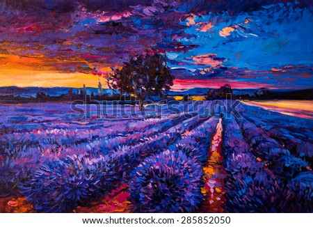 Original oil painting of lavender fields on canvas.Sunset over lavender field. Modern Impressionism by Nikolov - stock photo