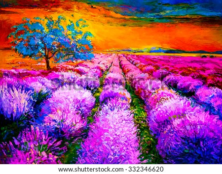 Original oil painting of lavender fields on canvas. Sunset over lavender field. Modern Impressionism - stock photo