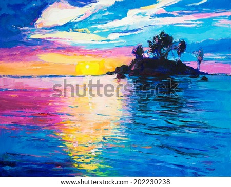 Original oil painting of lonely island and sea on canvas.Rich colorful Sunset over ocean.Modern Impressionism - stock photo