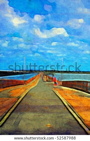 original oil painting of long pier on stretched canvas - stock photo