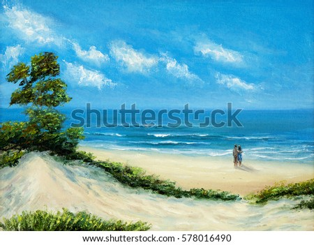 original oil painting of ocean and beach on canvasyoung couple enjoying the landscape - Free Painting Pictures