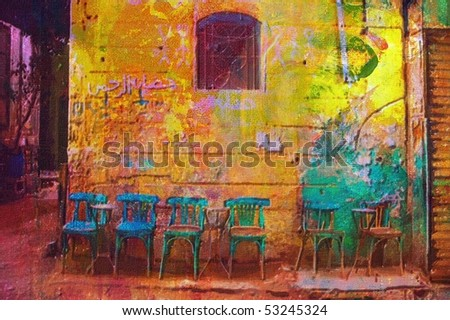 original oil painting of  old Arabic architecture - stock photo