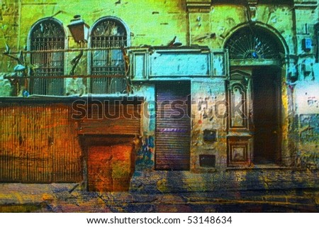 original oil painting of Ornate old Arabic architecture