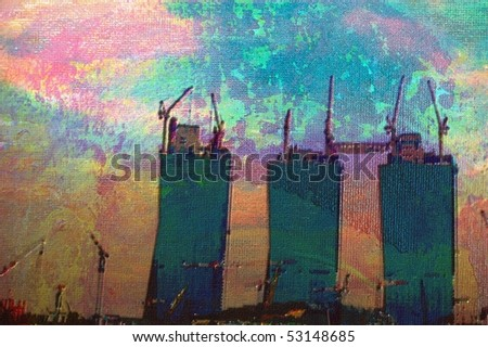 original oil painting of random office city buildings - stock photo