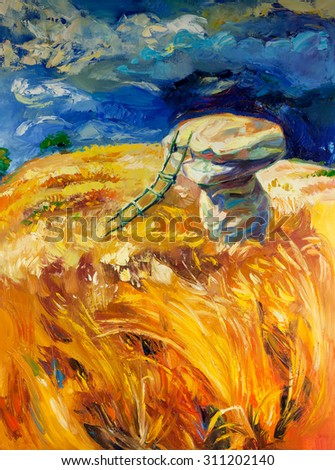 Original oil painting of stormy sky over wheat fields  on canvas.Rocks and ladder.Modern Impressionism - stock photo