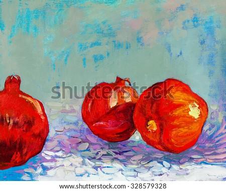 Original oil painting of tasty  pomegranate fruit ( Punica granatum) on canvas.Modern Impressionism - stock photo