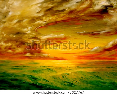 original oil painting of the Beautiful sunset off the coast of california - stock photo