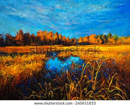 Original oil painting of trees and lake on canvas.Modern impressionism - stock photo