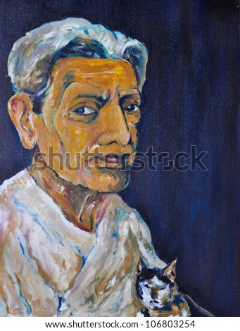 Original oil Painting old women and cat stare you oil painting - stock photo