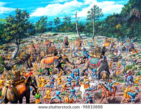 original oil painting on canvas - ancient battle between Thai and Burmese - stock photo